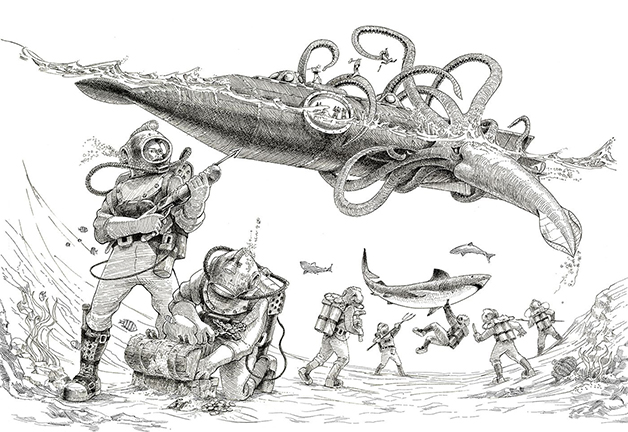 """Ilustração do submarino Natilus, do livro """"20 mil léguas submarinas"""", de Julio Verne"""