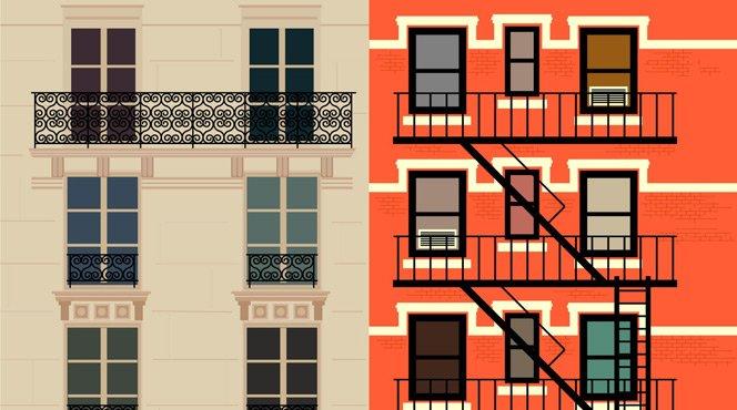 As diferenças entre Paris e Nova York