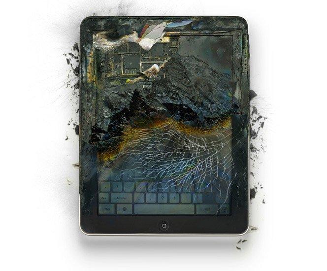Produtos da Apple destruídos