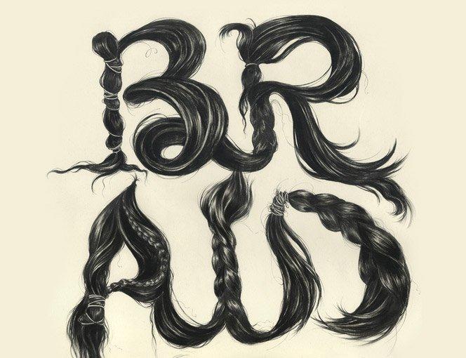 Tipografia com cabelos