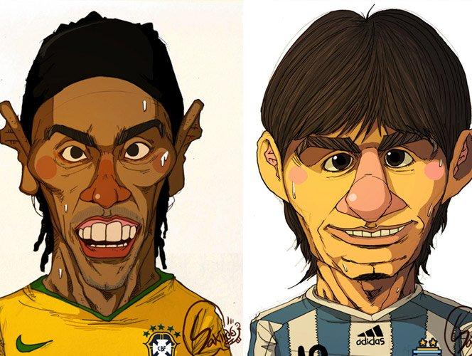 Jogadores de futebol ilustrados