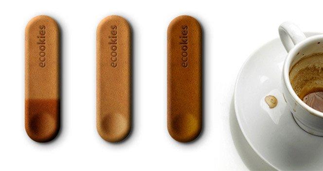 Que tal um cookie para mexer o seu cafezinho?