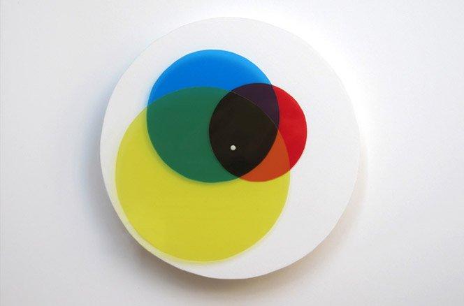 Relógio com sobreposição de cores