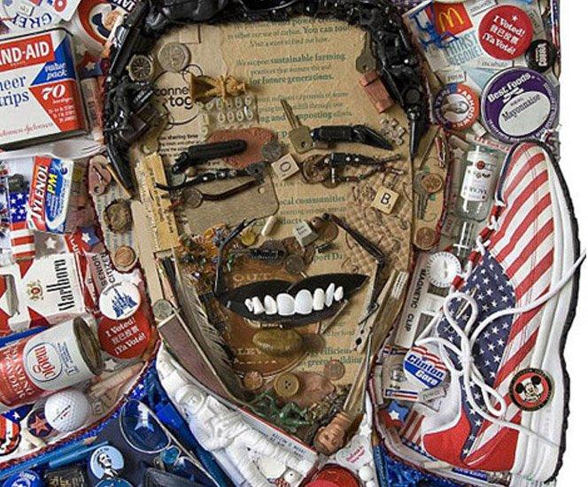 Artista cria retratos com lixo