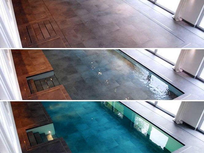 Piscina com o piso móvel não desperdiça espaço na casa