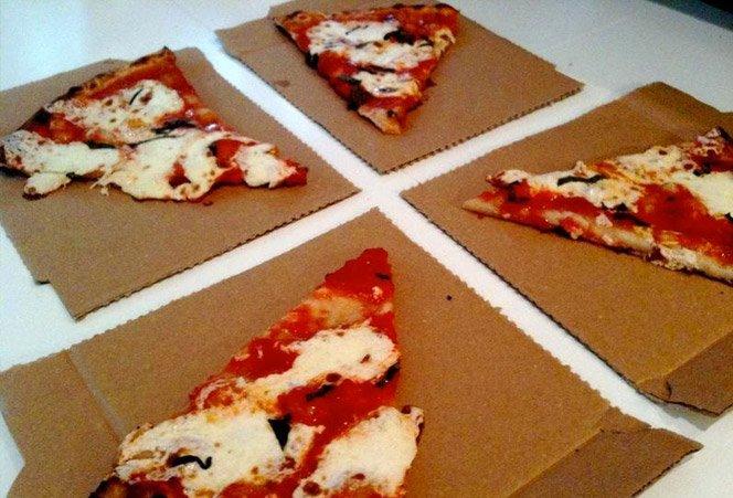Caixa de pizza que vira prato