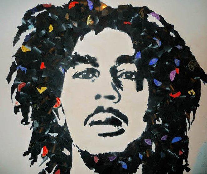 Retratos de Músicos feitos de LPs