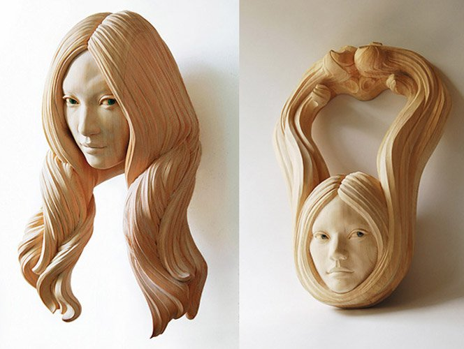 Escultas de madeira do artista Yasuhiro Sakurai