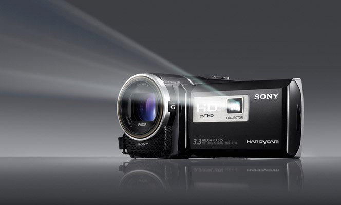 Filmadora da Sony com Projetor