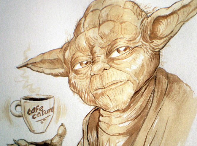 Ilustrações com Café no lugar de Tinta