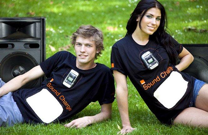 Camiseta Transforma Som em Energia Elétrica para o Celular
