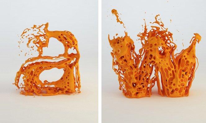 Tipografia explodindo, experimento 3D