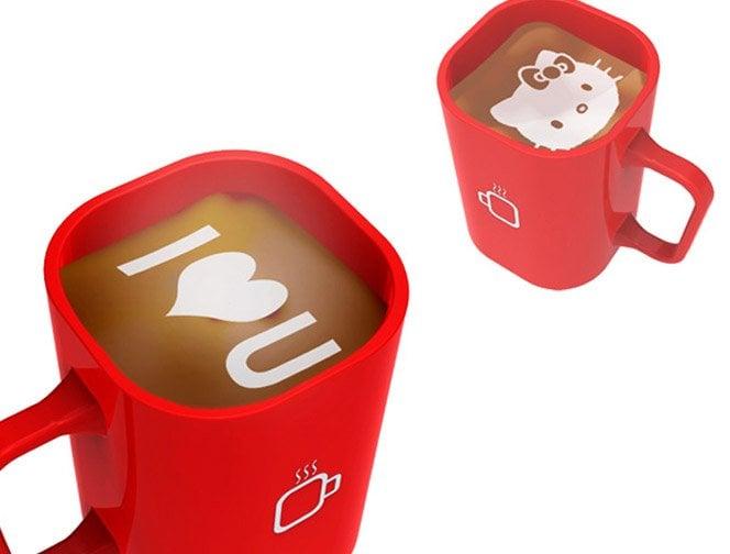 Máquina de café que imprime desenhos no seu copo