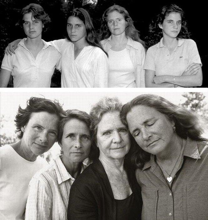 Fotografando irmãs por 36 anos mostrando o impacto do tempo no corpo