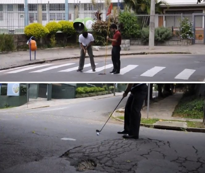 Jogando golf na rua, protestando contra os buracos