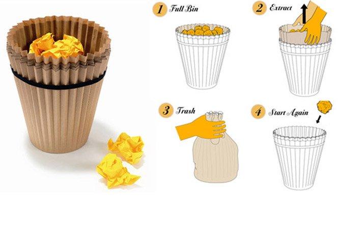 Cesta de lixo de Papel Reciclado, elimina o uso de sacos plásticos
