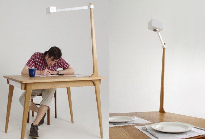 Mesa que fotografa e tuíta