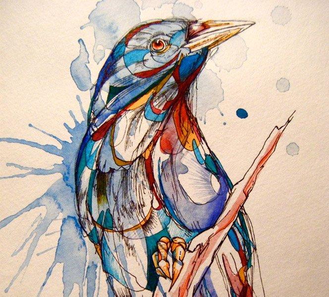 Pássaros Aquarelados