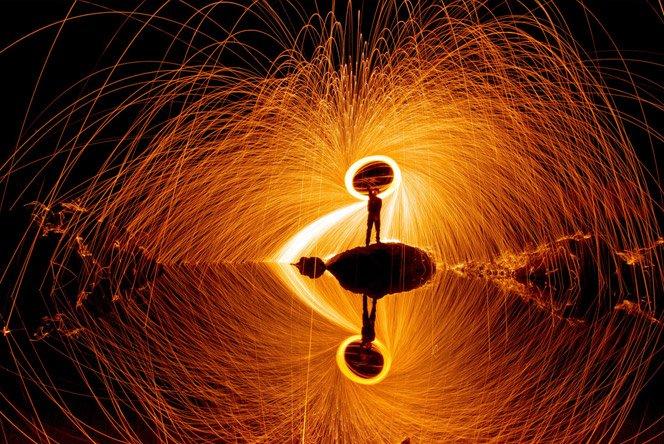 Fotografia com círculos de fogo
