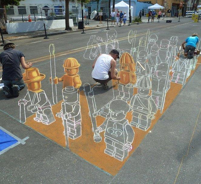Incrível pintura de rua em 3D