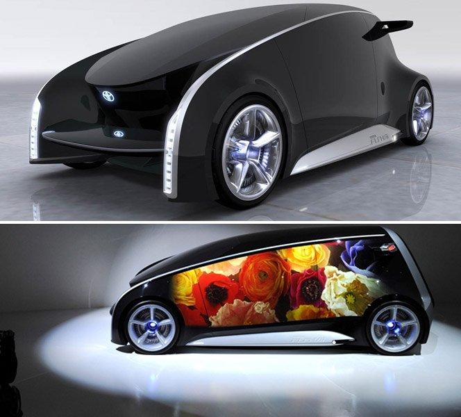 Carro conceito com portas touchscreen e acesso à internet