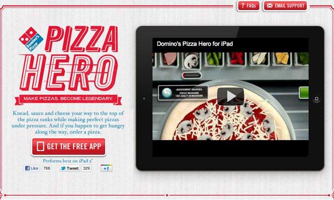 Pizza da Domino's pelo iPad