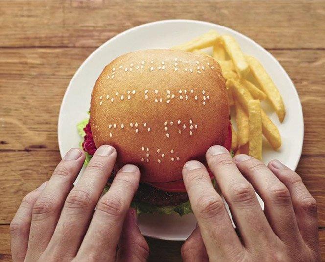 Hambúrgueres em braile