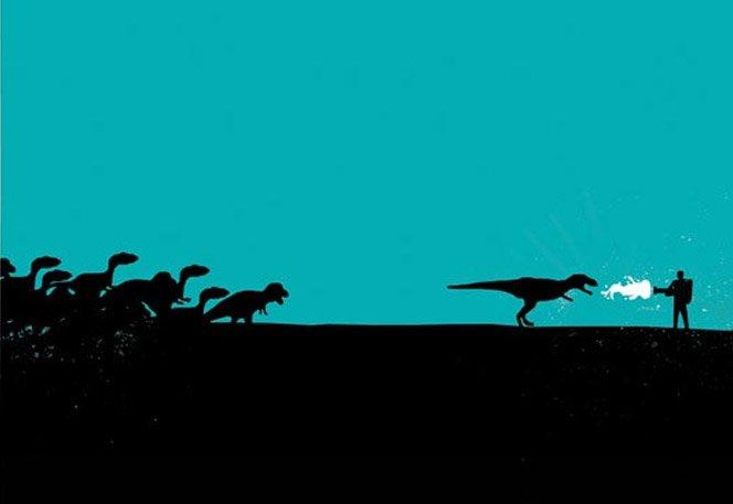 Ilustrações minimalistas retratam desespero antes de um ataque