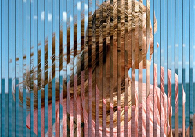 Arte com imagens combinadas em linhas verticais