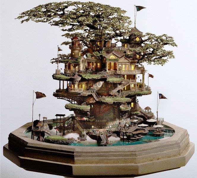 Casas na árvore de um bonsai