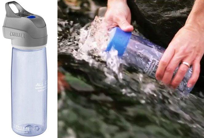 Garrafa de água inovadora purifica água contaminada