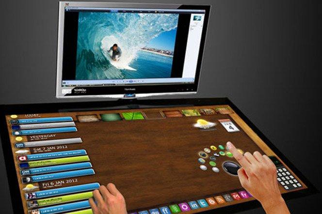 Mesa de trabalho interativa com tecnologia touch