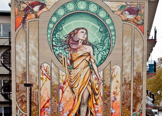 Graffiti gigante inspirado em Art Nouveau