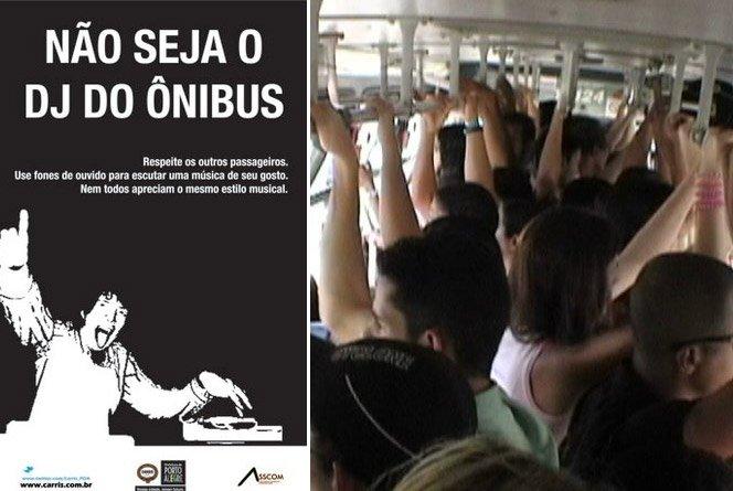 Quem ouvir música alta no ônibus será expulso do veículo e punido por lei