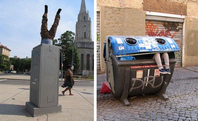Artista espalha corpos pela cidade