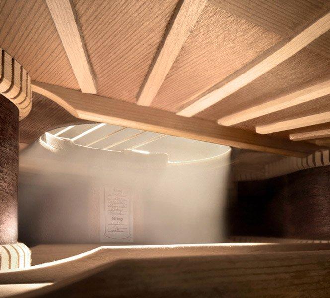 Instrumentos musicais fotografados por dentro