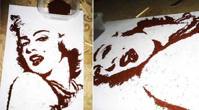 Arte com pó de café