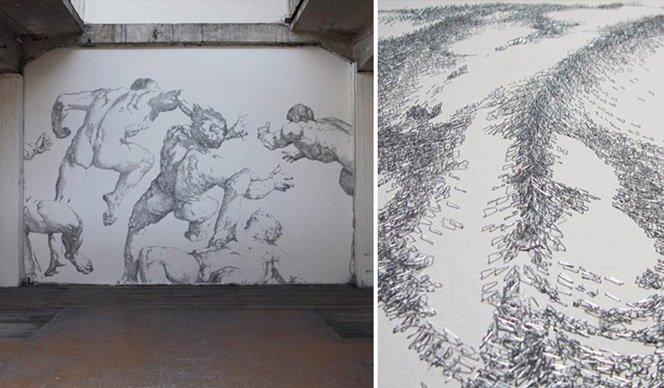 Ilustração gigante usando 450.000 grampos de papel