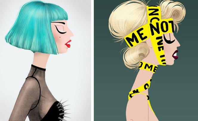 Artista ilustra as diferentes personalidades de Lady Gaga