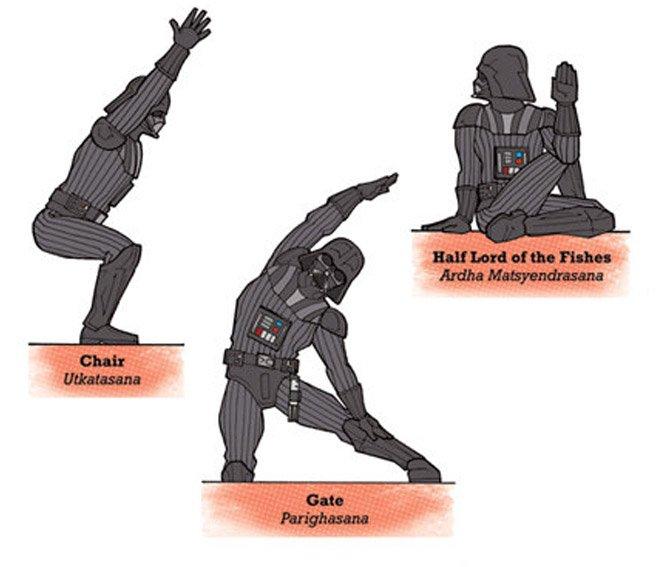 Personagens de Star Wars ensinando Yoga