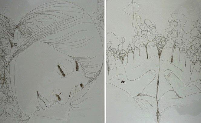Ilustrações incríveis feitas com fios de cabelo no lugar de tinta