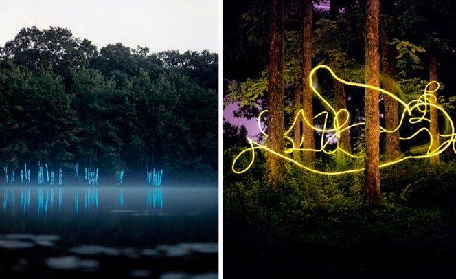 Misteriosas e incríveis instalações de luz no meio da natureza
