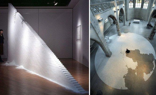 Escultor usa somente sal e as mãos para criar obras incríveis