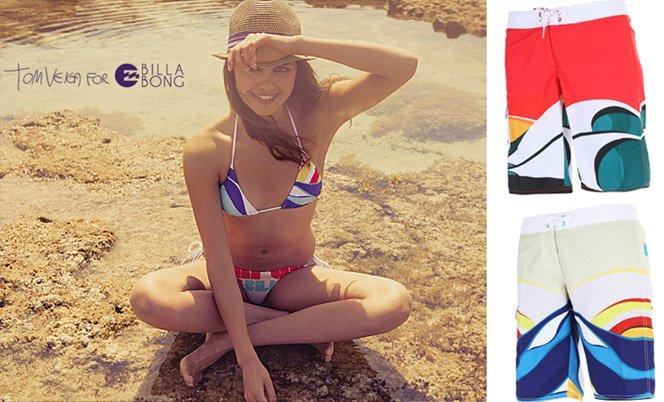 A arte surf do brasileiro Tom Veiga foi parar nas roupas da Billabong
