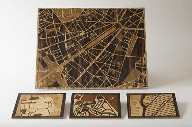 Mapas na madeira