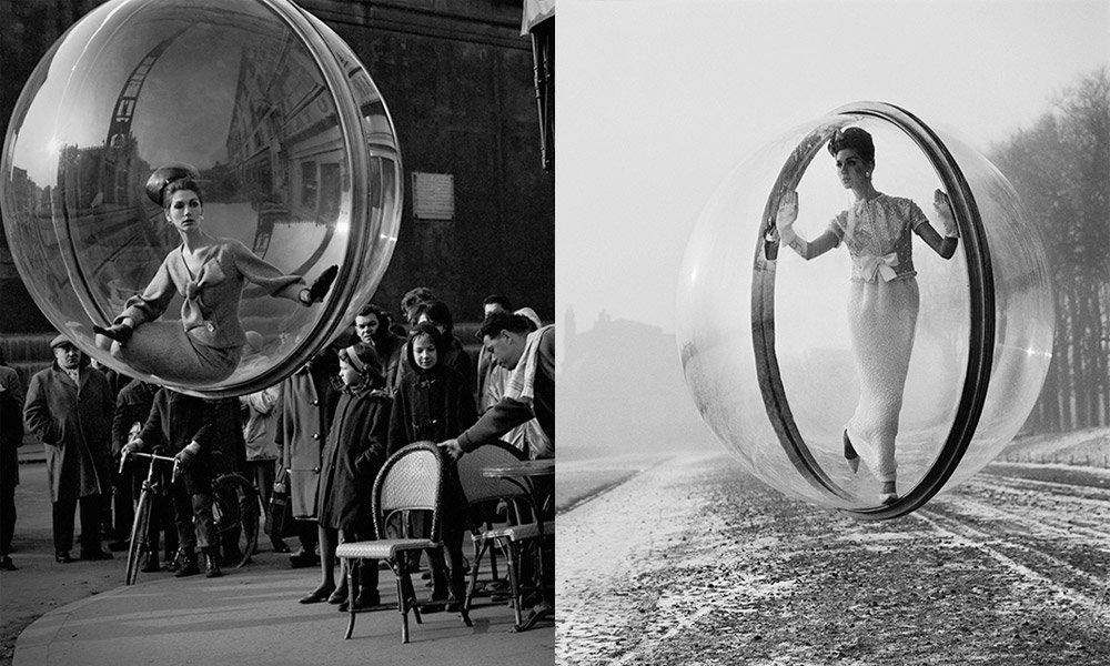 Modelo é retratada dentro de bolha na década de 60