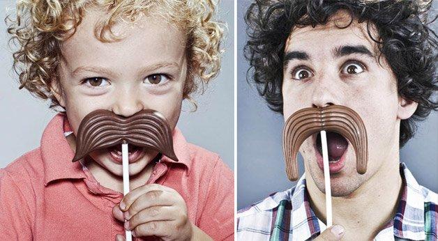 Bigodes de chocolate para comer se divertindo