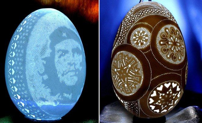 Arte em casca de ovo com mais de 3 mil furinhos