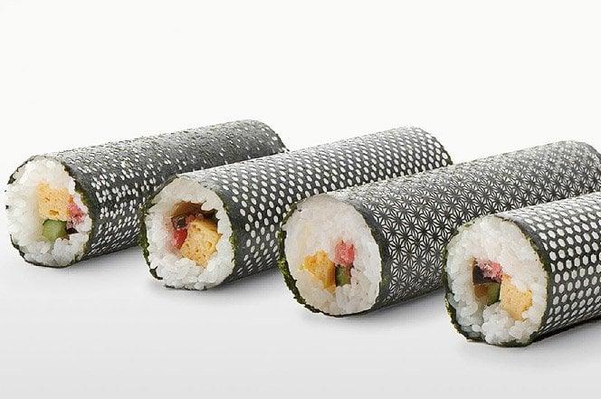 Folhas de alga para sushi com um toque de design