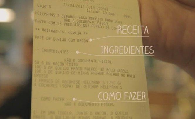 Hellmann's sugere receita na nota de  acordo com os produtos da compra